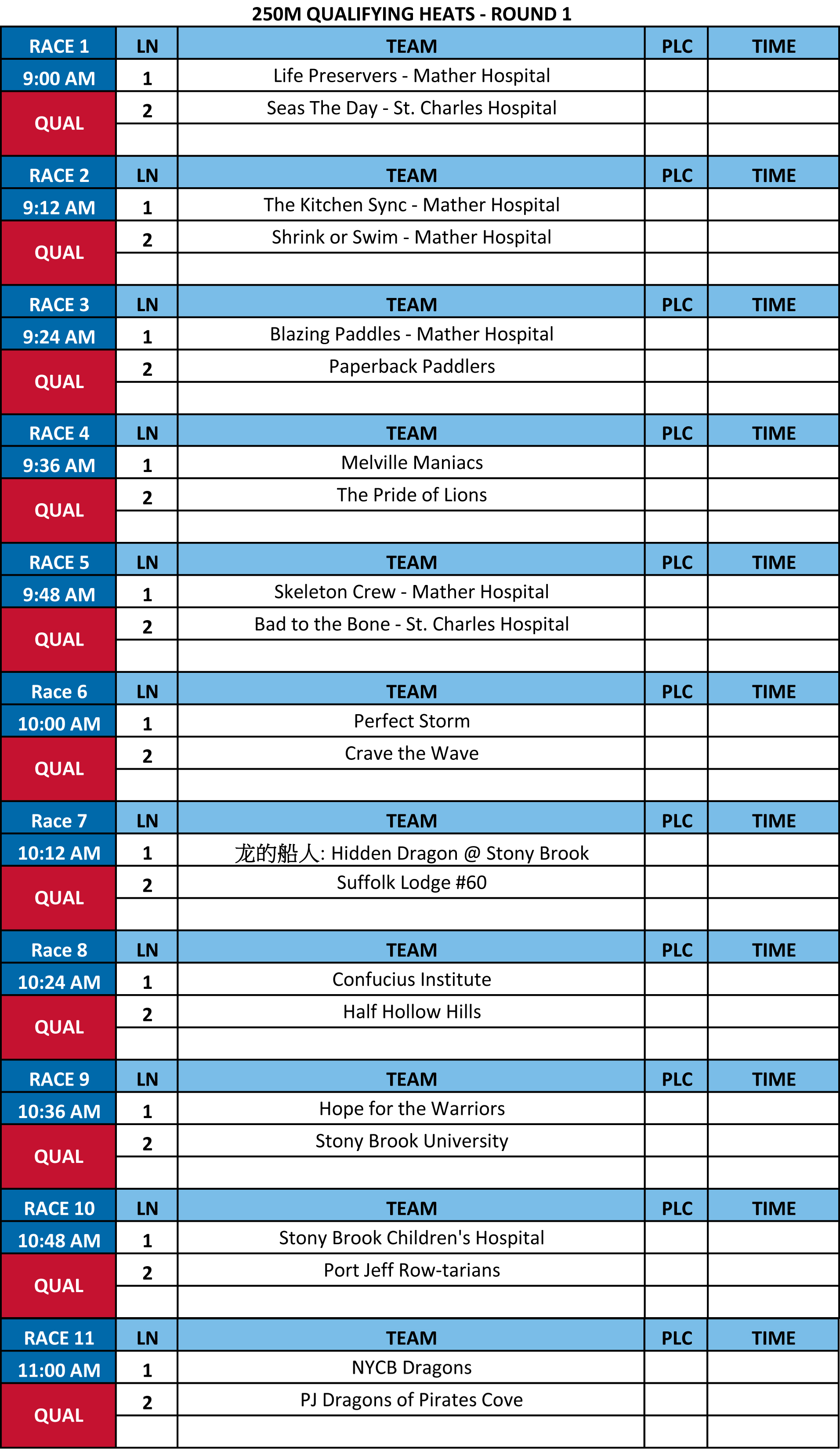 The Dragon Boat Race Schedule for Sept. 19, 2015